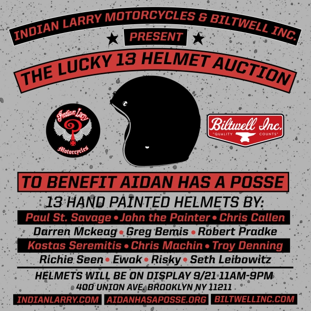 LUCKY 13 HELMET AUCTION TO BENEFIT THE AIDAN JACK SEEGER FOUNDATION